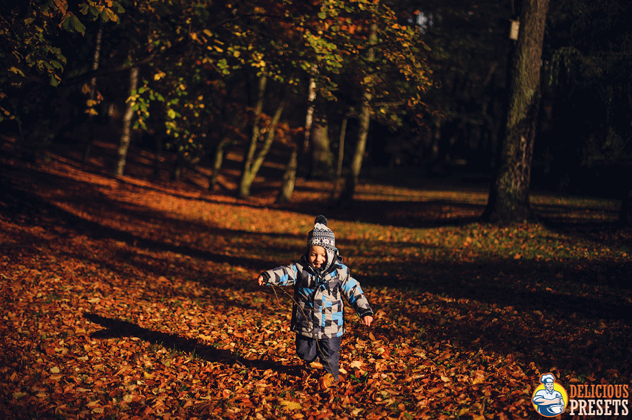 Children playing in autumn leafs - Lightroom 4 Presets